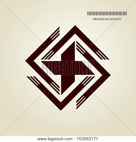 Geometric Monogram logo. Abstract design in trendy style. Monochrome emblem hipster. Minimal Design elements for logo badge banner insignias business card label. Vector Illustration