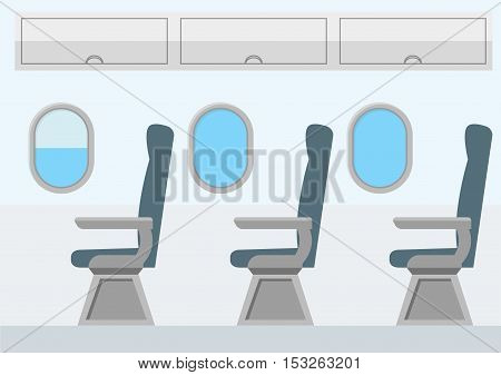 Airplane Transport Interior. Jet for Travel. Flat Design Style. Vector illustration