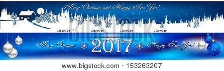 Christmas and New Year web banners with winter landscape. Space for your own advertising.
