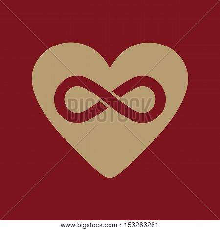The heart and infinity icon. Heart and Infinity symbol. Flat Vector illustration