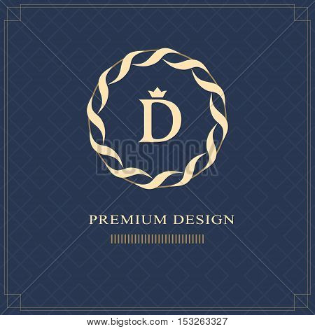 Emblem of the weaving circle. Monogram design elements graceful template. Simple logo design Letter D for Royalty business card Boutique Hotel Heraldic Web design Jewelry. Vector illustration