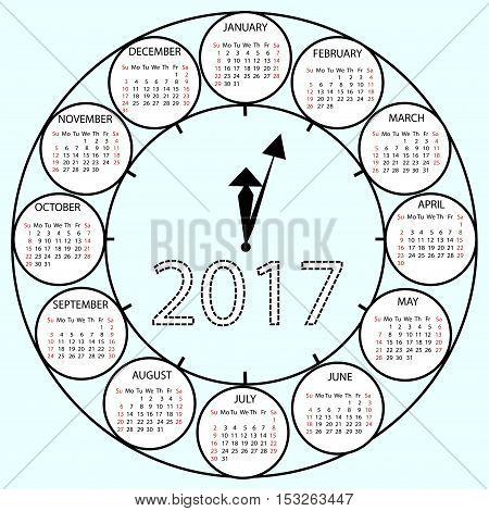 Simple Calendar 2017 circles clock time year.Vector illustration Week starts with Sunday.