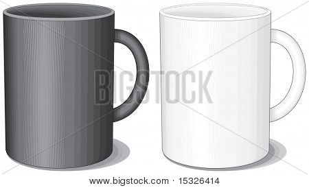 Porcelain mugs -easy editable colors vector without gradients