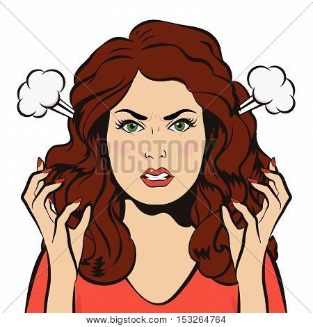 Young angry woman with steam blowing from ears. Negative Emotions. Bad Mood. Young furious Girl. Pop Art Banner. Vector cartoon illustration.