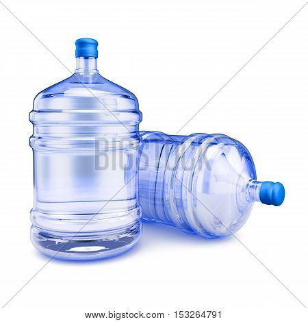 Two bottles with purified water to drink. 3d render.