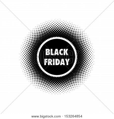 Black Friday Sales banner. Halftone effect vector illustration. Black dots on white background. Design template with text Black Friday.