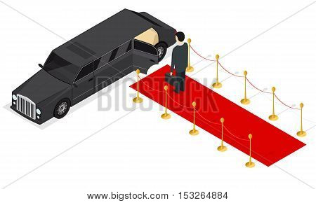 Black Limousine and Red Carpet Isometric View. Luxury Car. Vector illustration