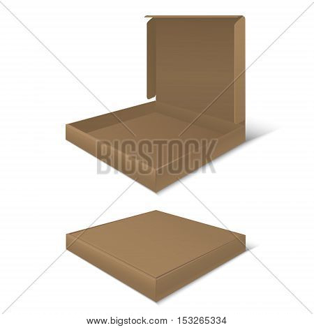 Template Blank Cardboard Pizza Boxes. Empty Package. Vector illustration