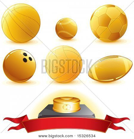 Gold Sport Balls for pedestal-vector illustration