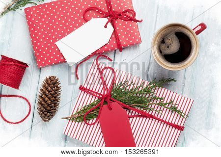 Christmas gift boxes on wooden table. Top view. Gift wrapping