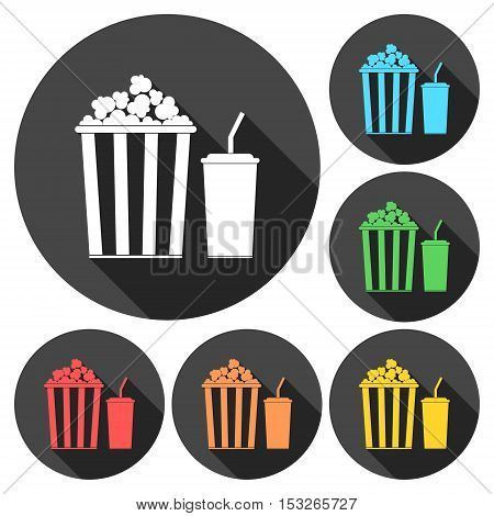 Popcorn and soda with straw icons set with long shadow