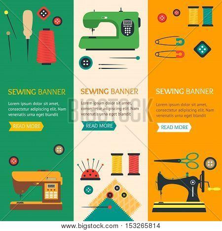 Sewing Banner Vertical Set Flat Design Style. Vector illustration