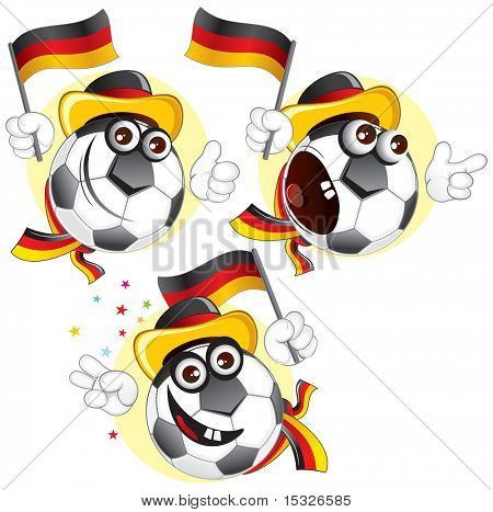 Cartoon football character emotions- Germany