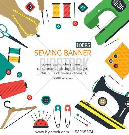 Sewing Banner Card for Your Business Flat Design Style. Vector illustration