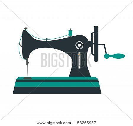 Retro Sewing Machine. Flat Design Style. Vector illustration