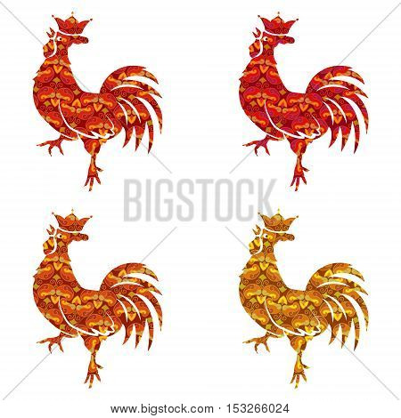 Set of colored silhouettes roosters isolated on white background. Bird with ornament. Chinese Traditional Zodiac. New Year Symbol. Crowing Cock. Red Gold orange Colors. Vector illustration
