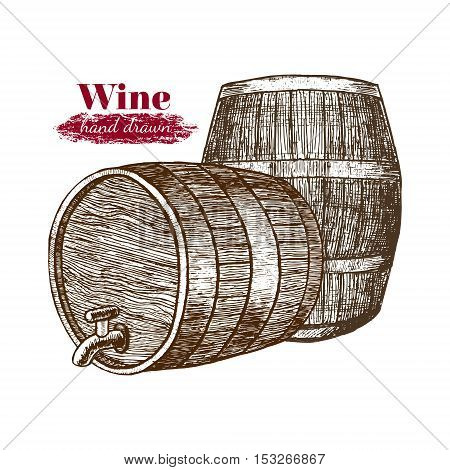 Wine Barrels Hand Draw Sketch for Menu of Cafe and Restaurant. Vector illustration