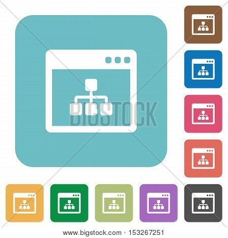 Networking application flat icons on color rounded square backgrounds