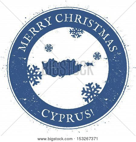 Cyprus Map. Vintage Merry Christmas Cyprus Stamp. Stylised Rubber Stamp With County Map And Merry Ch