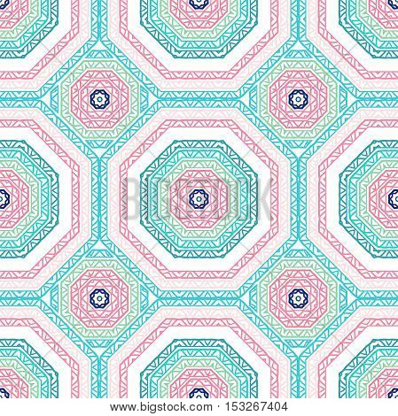 Seamless vector tribal texture. Simple geometric pattern. Vector stripes pattern. Fabric, cloth design, wallpaper, wrapping. Seamless backdrop. The geometrical pattern tile. Bright pink, blue pattern.