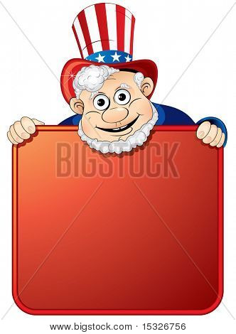 Uncle Sam holding a blank sign for your text