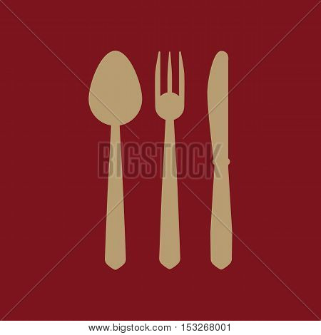 The spoon and fork and knife icon. Spoon and fork and knife  symbol. Flat Vector illustration. Set