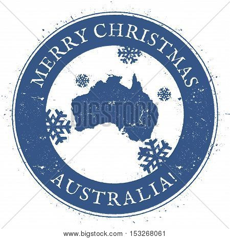 Australia Map. Vintage Merry Christmas Australia Stamp. Stylised Rubber Stamp With County Map And Me