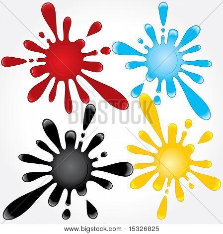 Nützliche verschiedene Spritzer von Blut, Öl, Wasser, färben. Vector - nur Farbverläufe