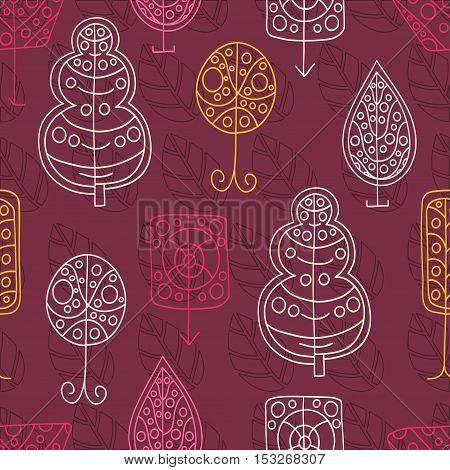 Beautiful floral pattern. Seamless retro background, pattern. Floral pattern, ornament. Spring floral background. Seamless vintage vector pattern. Set of stylized trees. Crohn tree. Wood. Garden.