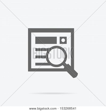 Simple searching icon. Grey line pictogram of magnifying glass and document with shadow under it. Vector illustration for data searching services, applications icons, logo and web page design.