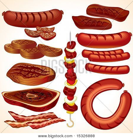 Mahlzeit set #4: detaillierte Vektor BBQ Collection-ClipArt-Steak, Kebab, Hamburger, Würstchen, Hot-Dog,