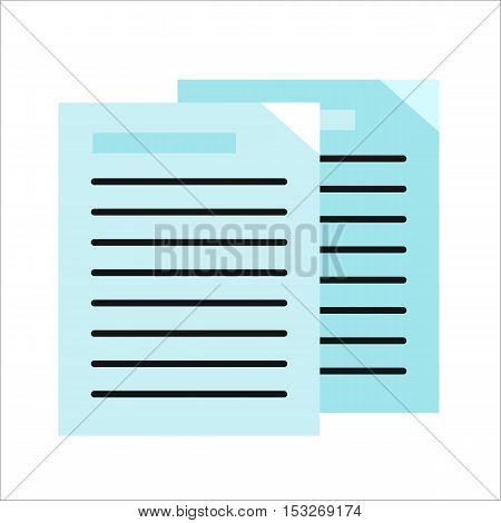 Sheet blue paper with list. List icon. Flyer icon. Leaflet icon. Business documents element. Design element, sign, symbol, icon in flat. Isolated object on white background. Vector illustration.