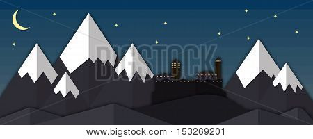 Vector fantasy landscape, fairytale castle. Dark mysterious castle, princess fairytale. Nature landscape, fortress, paper-cut technique concept. Princess castle, nature background.
