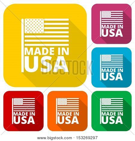 USA (American) flag, Made in USA, icons set with long shadow
