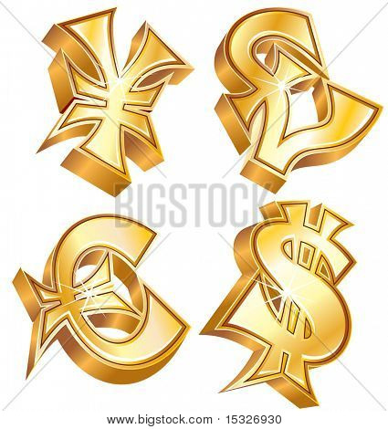 Golden symbols of world currencies: Dollar, Euro, Yen and Pound (id=57785509 version vector)