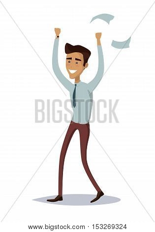 Business success illustration. Flat style design vector. Great deal, good day concept. Happy man with raised hands enjoying his success. Getting result. Isolated on white background.