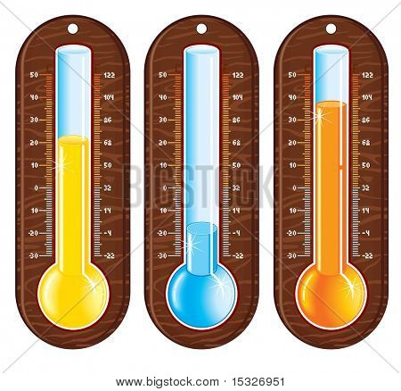 Retro styled liquid thermometers-easy editable vector
