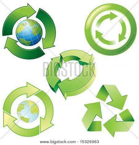 Ícones de reciclagem vetor estilizado