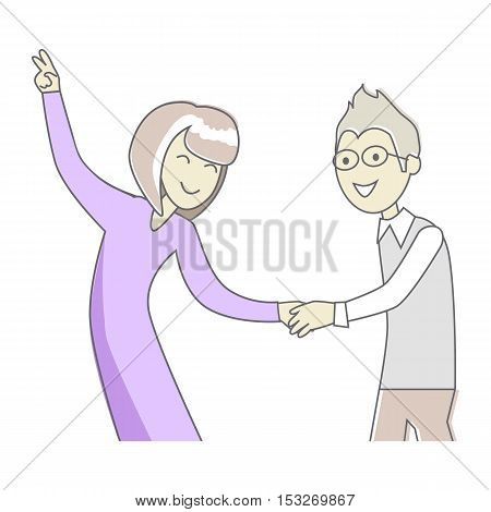Man and women dancing. People good friends. Close friendship concept. Banner with happy successful people. Funny students together. Business partners at the party having fun. Vector illustration