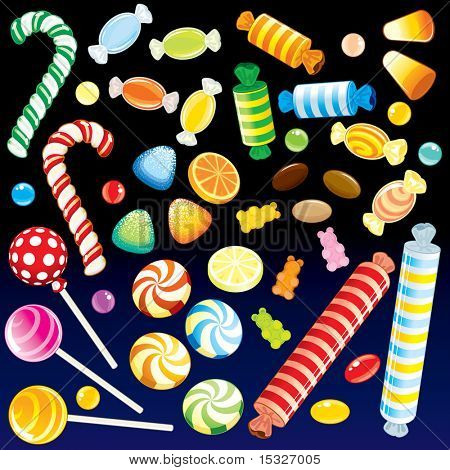 Collection of various motley Candies from Candy Store - detailed vector, all elements grouped, separated-MORE NEW SETS SEE AT MY GALLERY