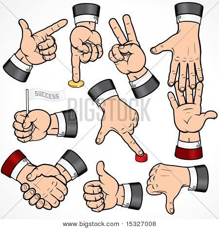 Set of Businessman Hand Gestures-detailed vector design elements-- to see more hands  please visit to my gallery