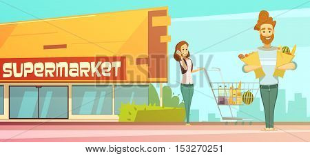 Family supermarket grocery shopping retro cartoon poster with store building street view and customers  outdoor vector illustration