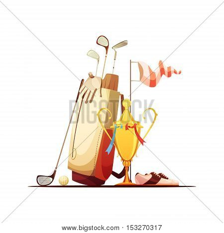 Golf bag with ball clubs shoes and tour championship winner trophy retro cartoon composition icon vector illustration