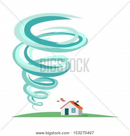 Tornado and hurricane infographics. Natural disaster symbol icon sign. Deadly tornado near house. Tornado swirl damages village cottage. Catastrophe caused by strong wind. Vector illustration
