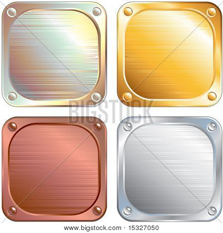 Set of Square Metallic Panels-vector illustration