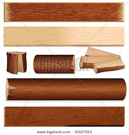 Vector isolated wooden objects for design, include log, plank, stump, firewood, slats, wood board and other carpenter  materials...