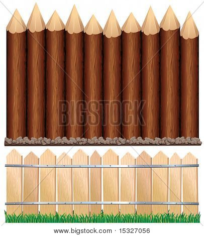 Illustration of rural wooden fence on grass and log paling with ground-editable vector barrier, all wood elements separated and grouped