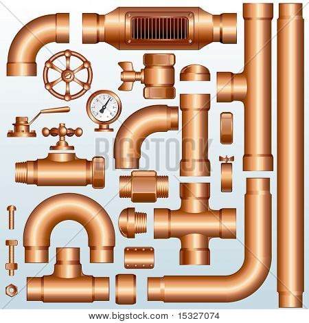 Collection of detailed Brass Pipeline construction pieces: pipes, fittings, valves, faucet, ells , flange parts...(id=61294537 version vector )