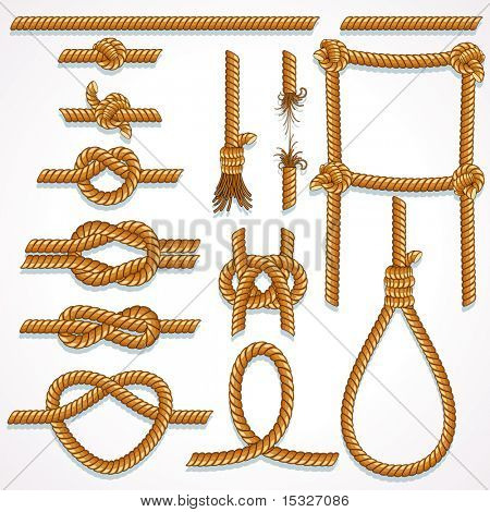 Vector Rope - design illustrations set- knot, ladder, noose, loop, reef knot, eight knot, string and broken hawser.-to see more similar images, please visit my Gallery