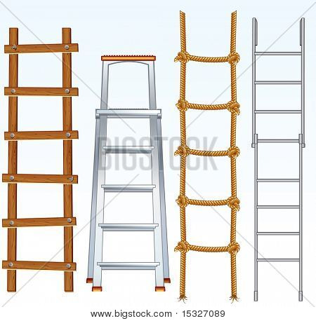 Illustration of various isolated ladders, stepladders - vector set for your design